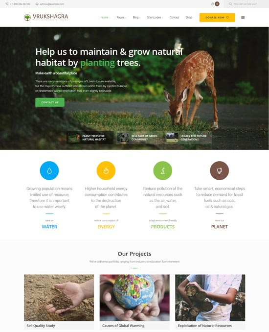 vrukshagra environmental WordPress theme