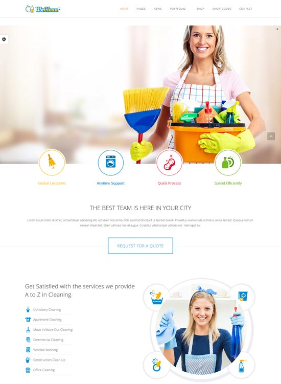 we clean cleaning company WordPress theme