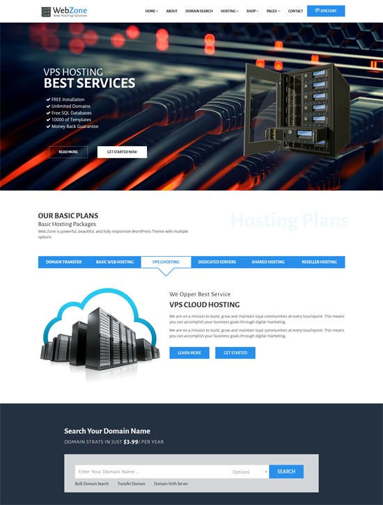webzone exquisite hosting html template