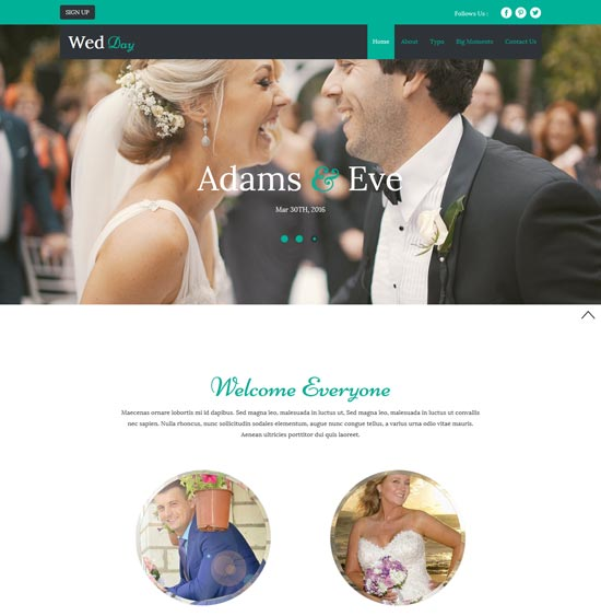 wed day free wedding bootstrap template