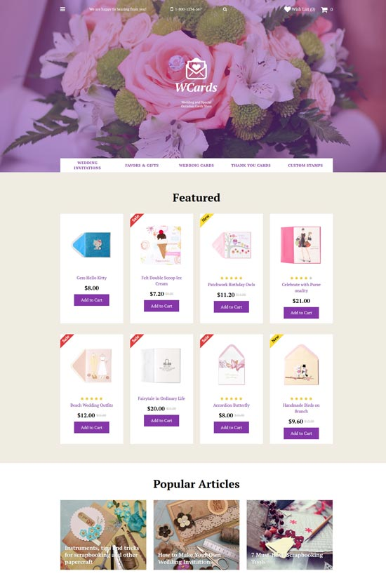wedding accessories opencart template