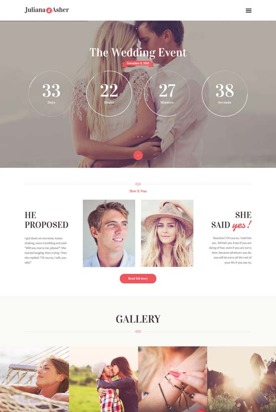 wedding event WordPress theme