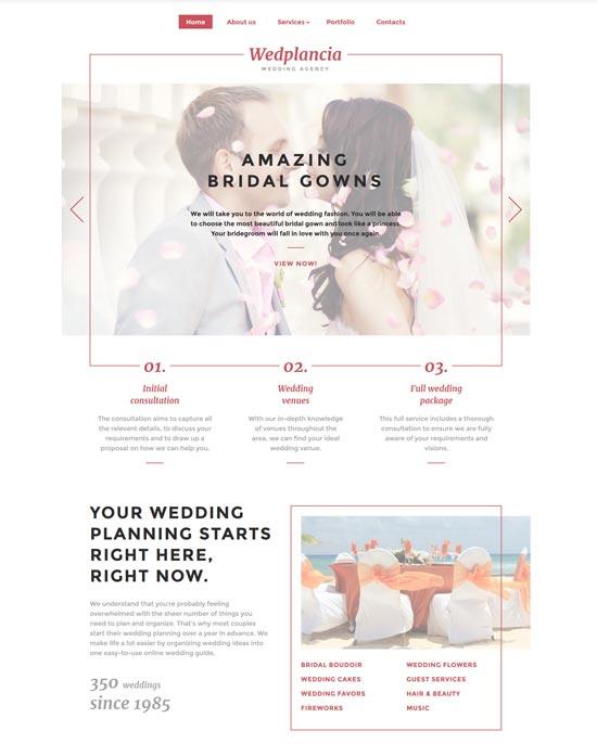 wedplancia wedding agency template