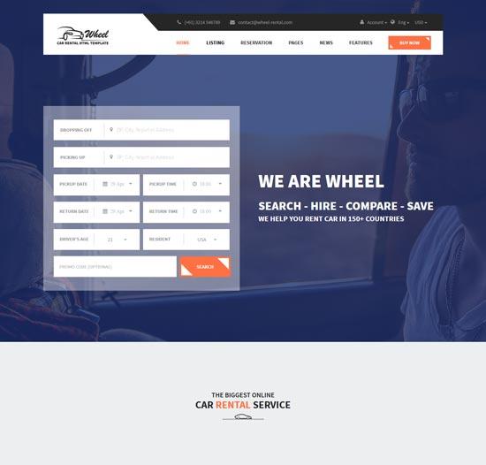 wheel car rental html5 website template