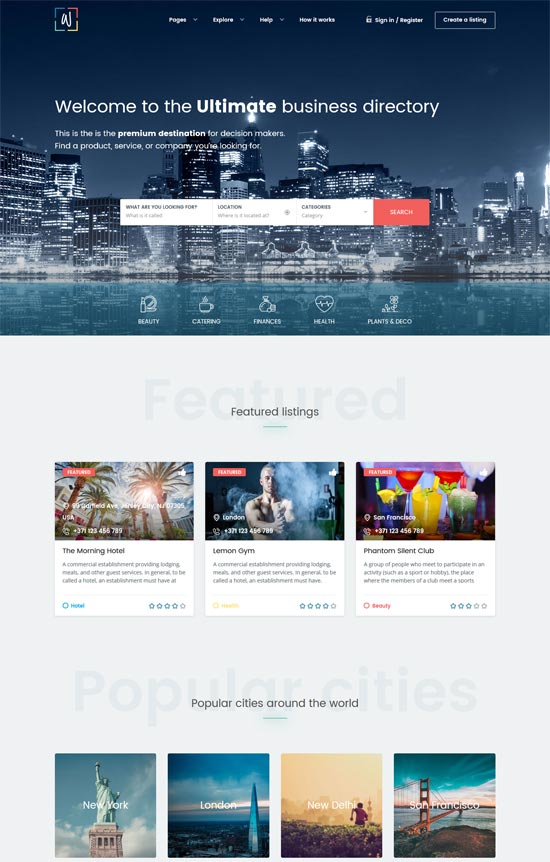whitelab directory wordpress theme