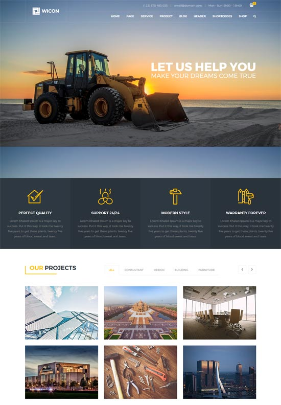 wicon construction building html template