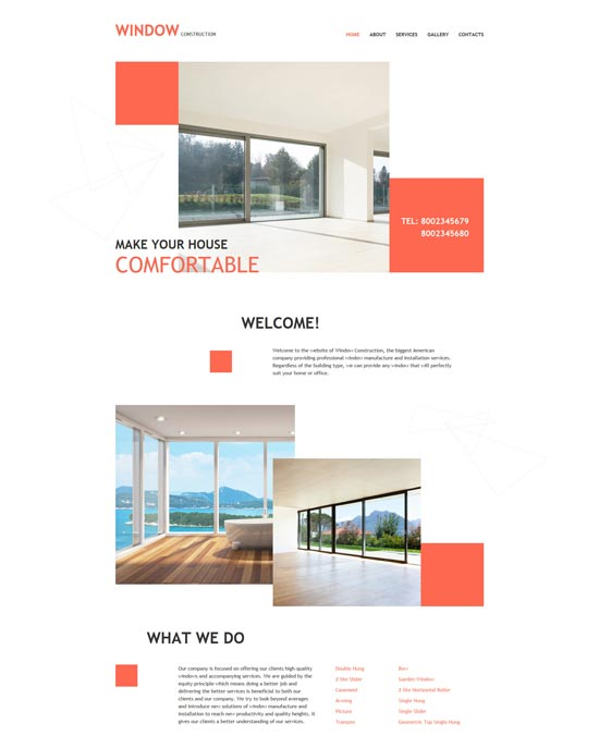 windows doors decor website template