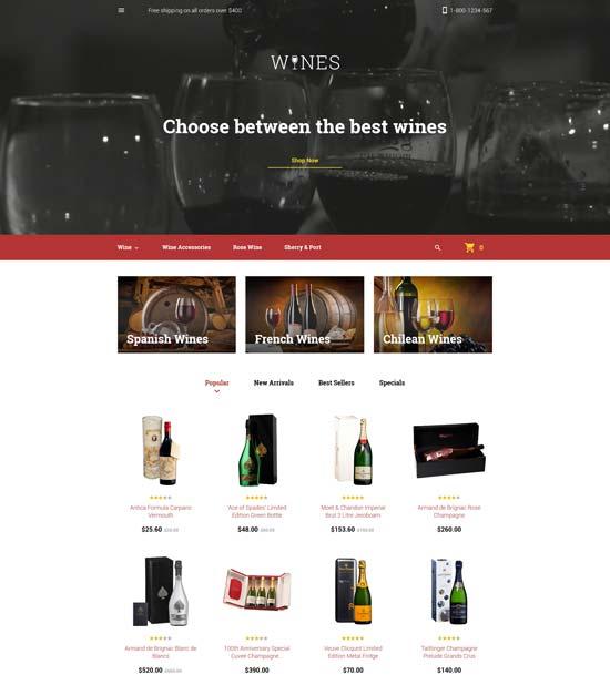 wines prestashop theme