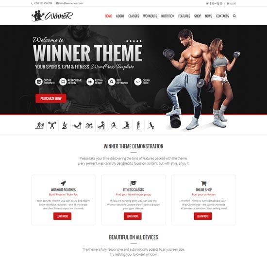 winner sports gym WordPress theme