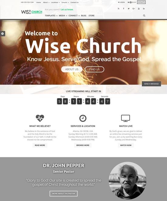 wise church WordPress theme