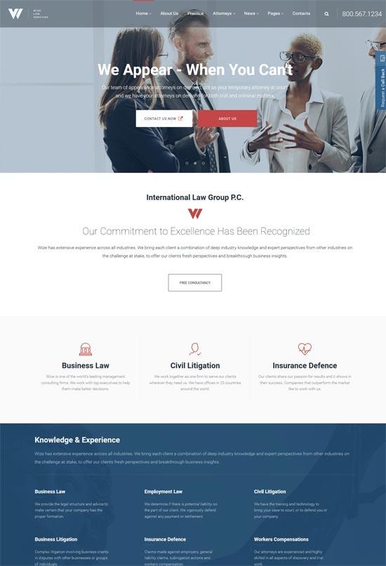 wizelaw law services attorney business wordpress