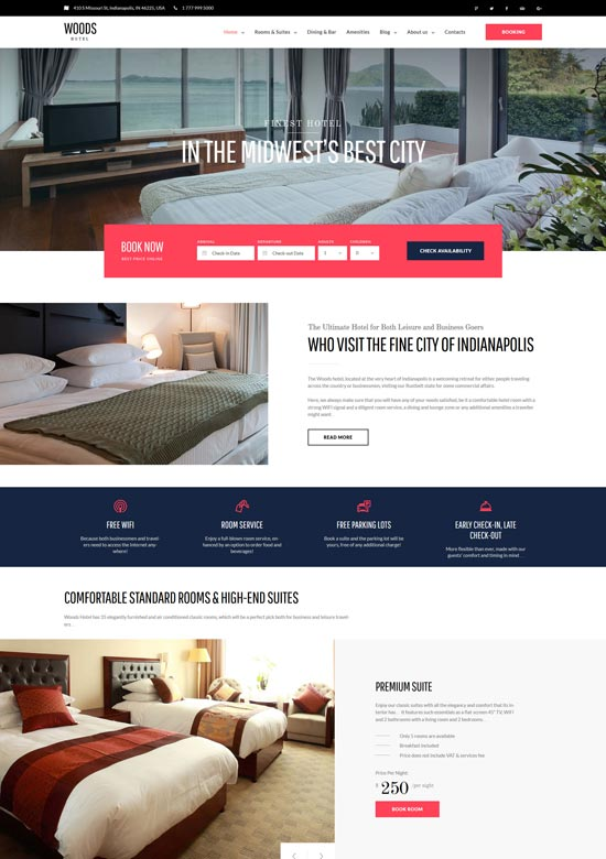 woods hotel hotel resort wordpress theme