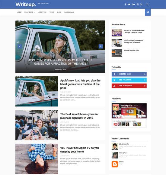 writeup free responsive blogger template