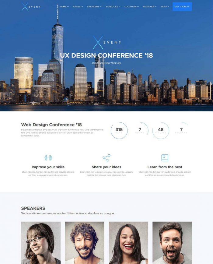 xevent event conference wordpress theme