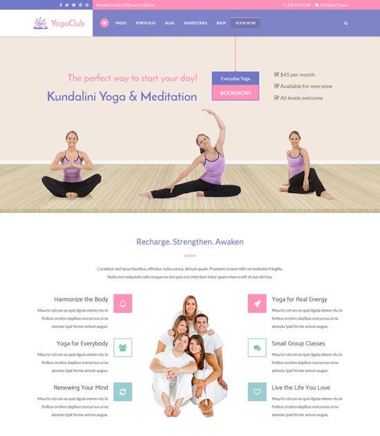 yoga club yoga WordPress theme
