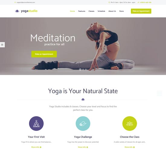 yogastudio yoga gym healthcare wp theme