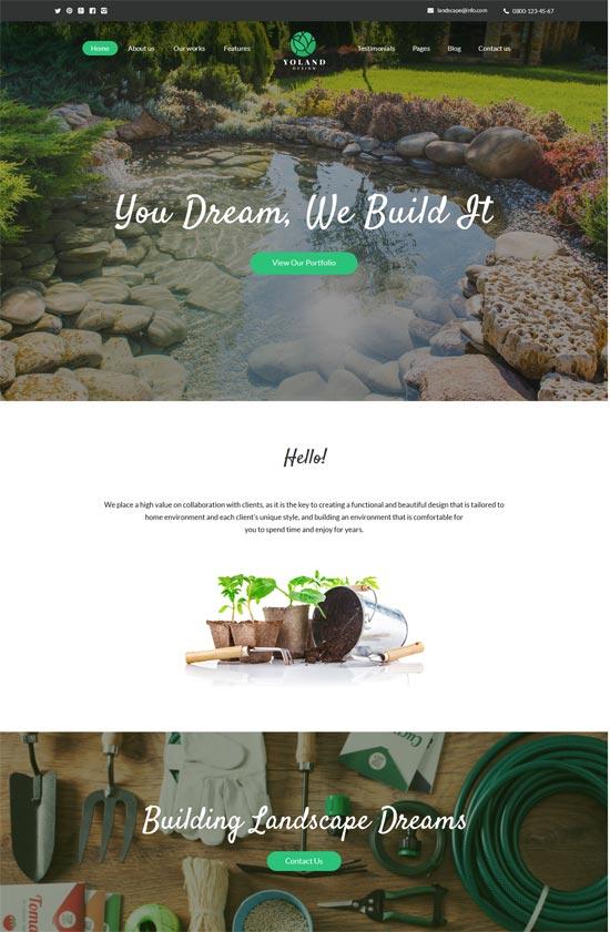 yoland landscape design garden wordpress theme