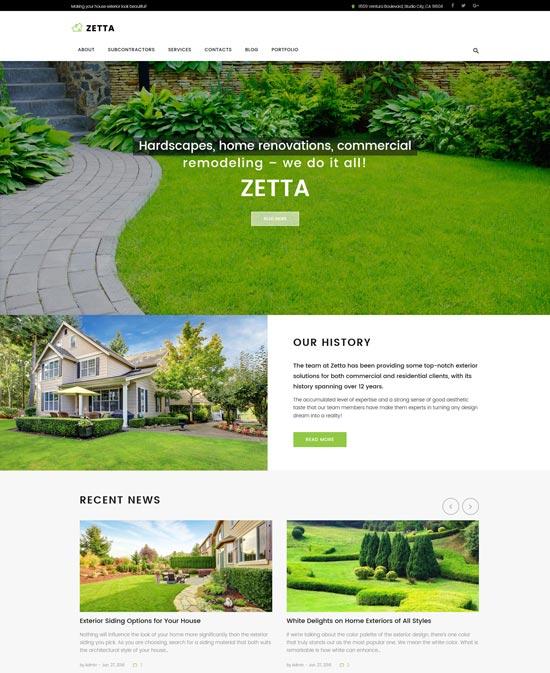 zetta garden landscape wordpress theme