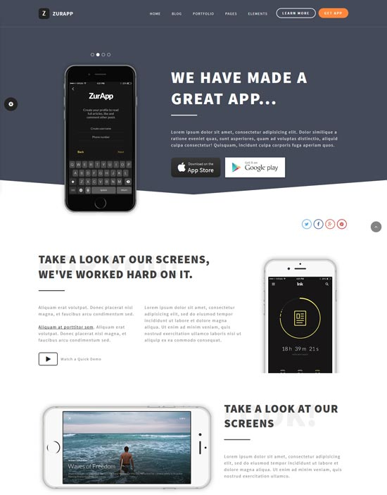 zurapp app showcase theme