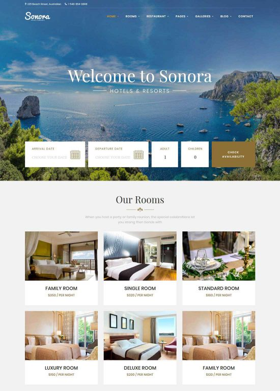 sonora hotel booking wordpress theme