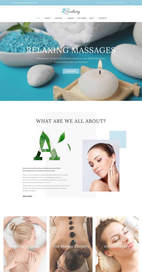 soothery massage salon wordpress theme