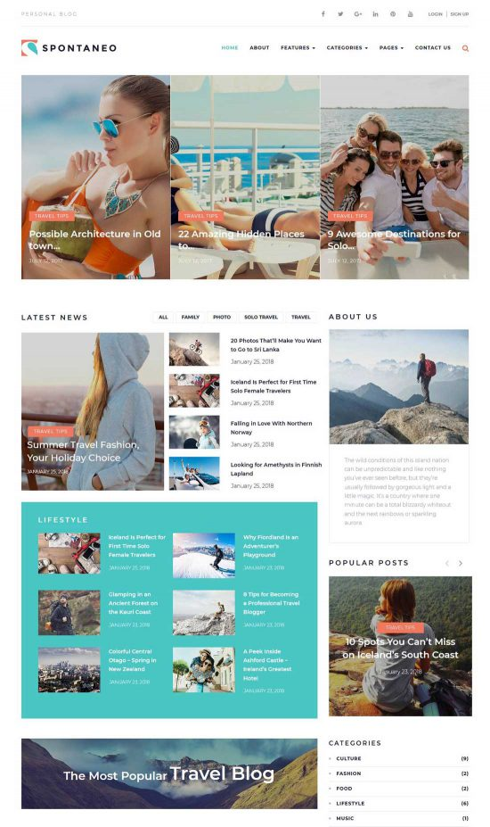 spontaneo personal travel blog wordpress theme