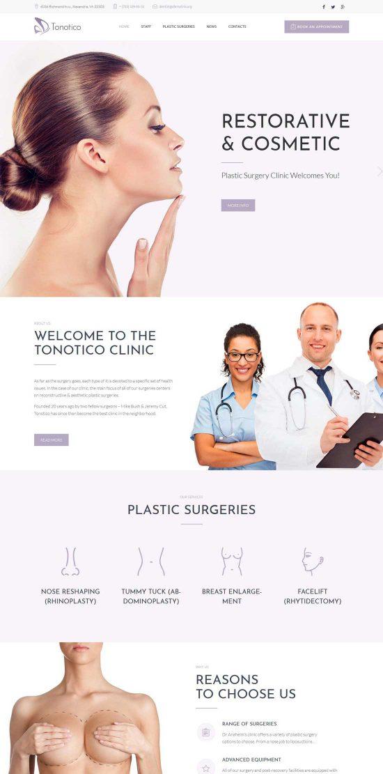 tonotico plastic surgery clinic wordpress theme