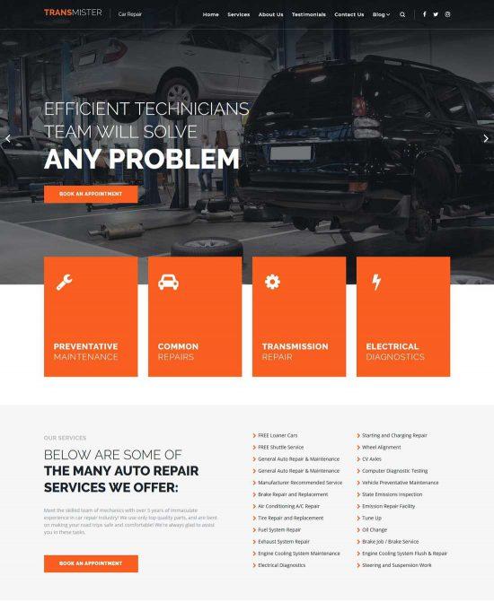 transmitter car repair wordpress theme
