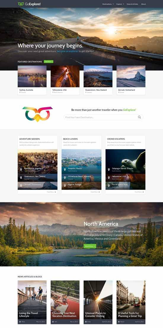 The GoExplore - travel WordPress theme