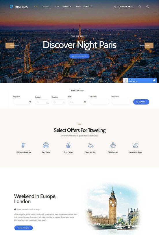 travesia travel agency wordpress theme