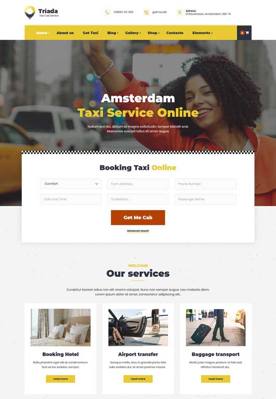 triada taxi cab service wordpress