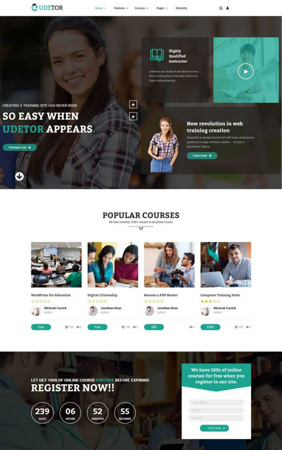 udetor lms education wordpress theme