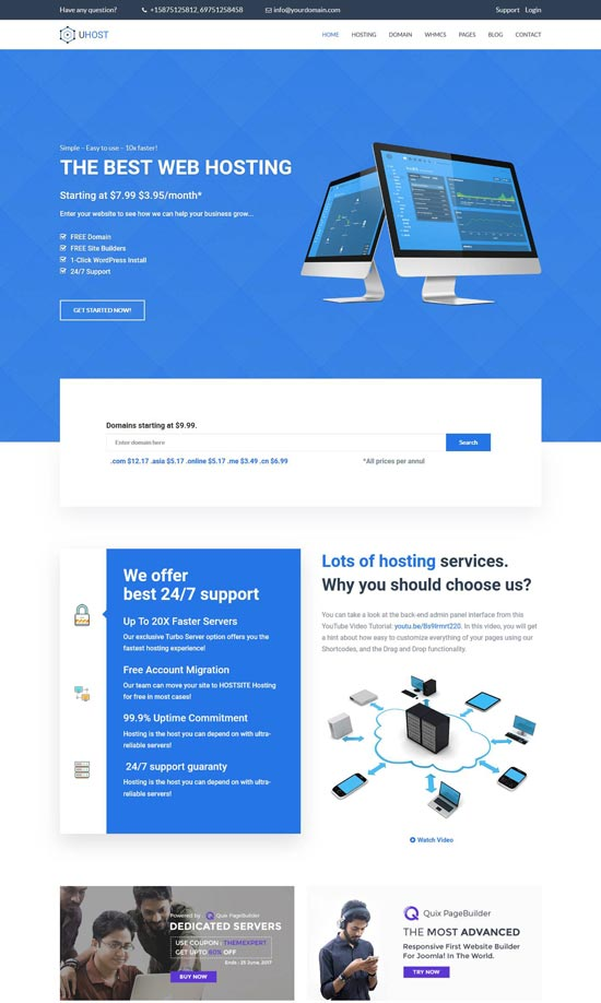 uhost web hosting wordpress theme