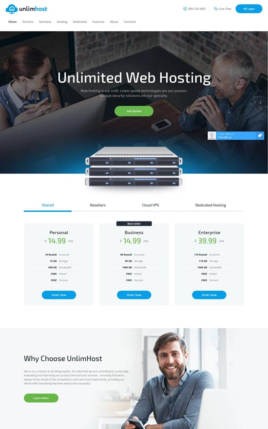 unlimhost hosting technology wordpress theme