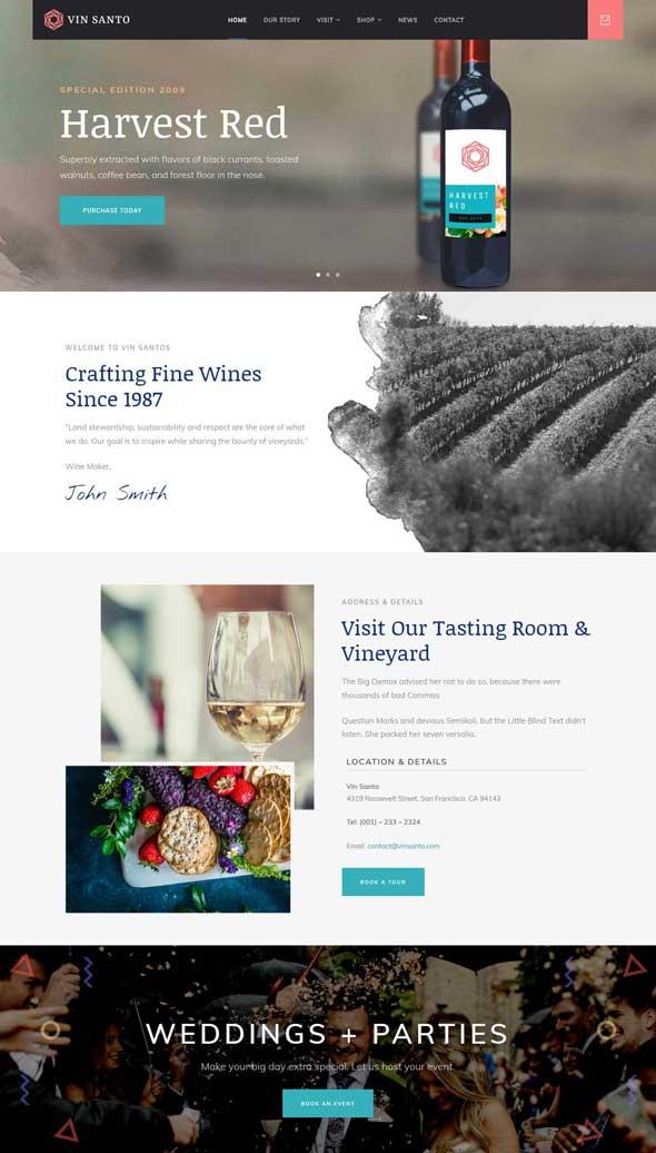 vin santo winery vineyard theme