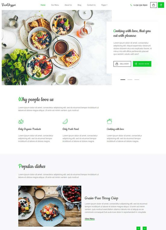 viva veggie restaurant wordpress theme