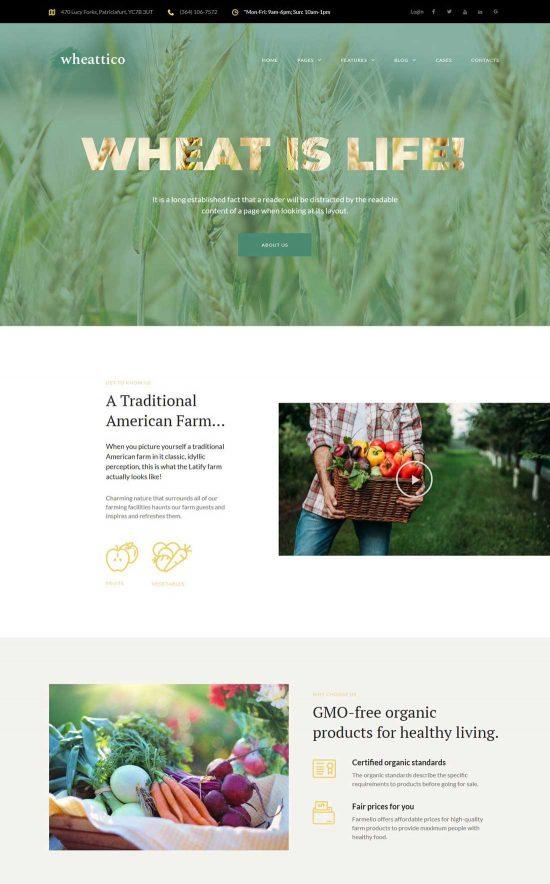 wheattico crop farm wordpress theme
