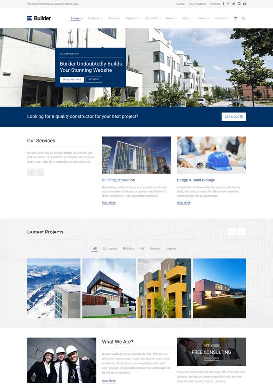Builder - Building Construction WordPress Theme