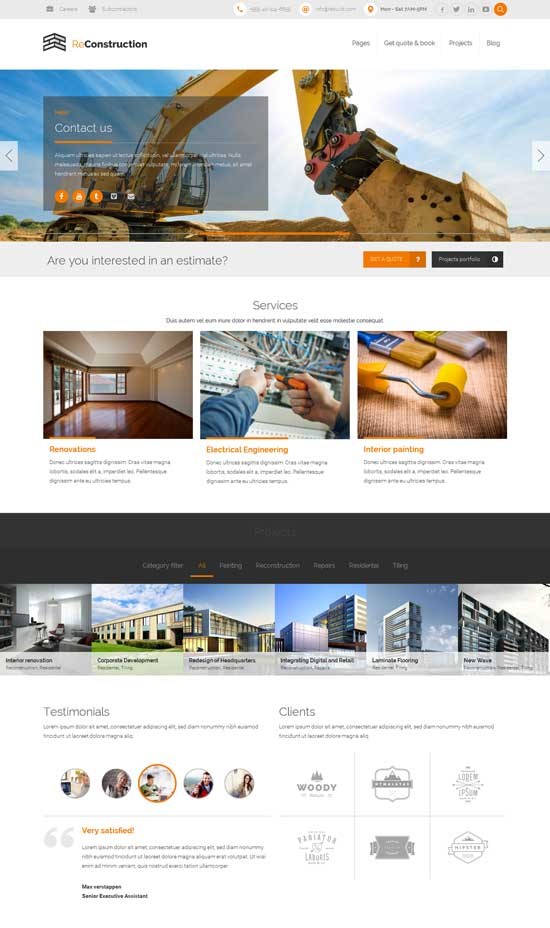 ReConstruction construction & building WordPress theme