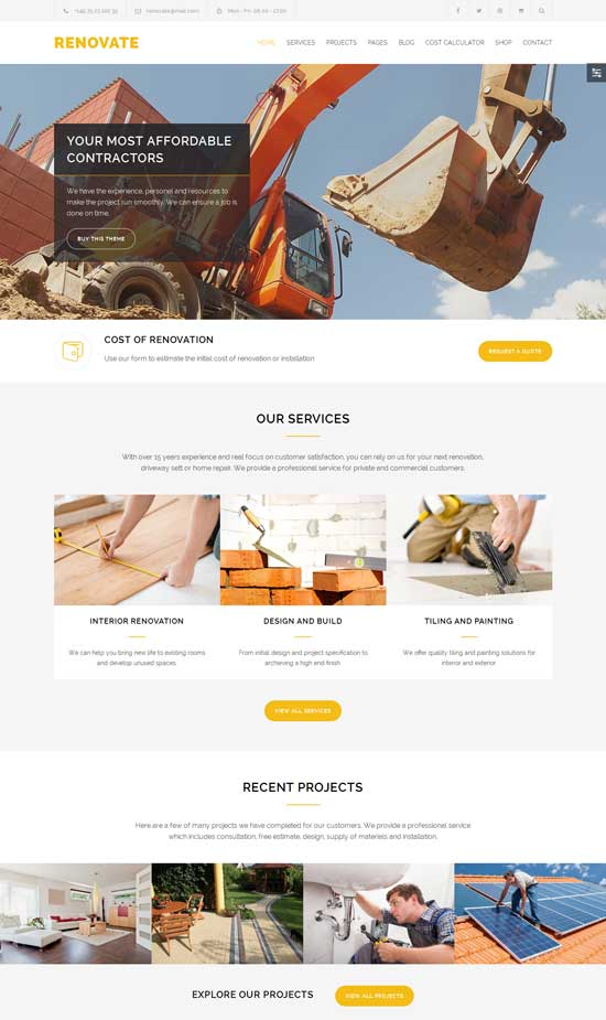 Renovate responsive construction WordPress theme