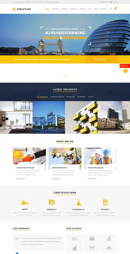 Structure responsive construction WordPress theme