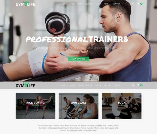 GymLife - fitness WordPress theme