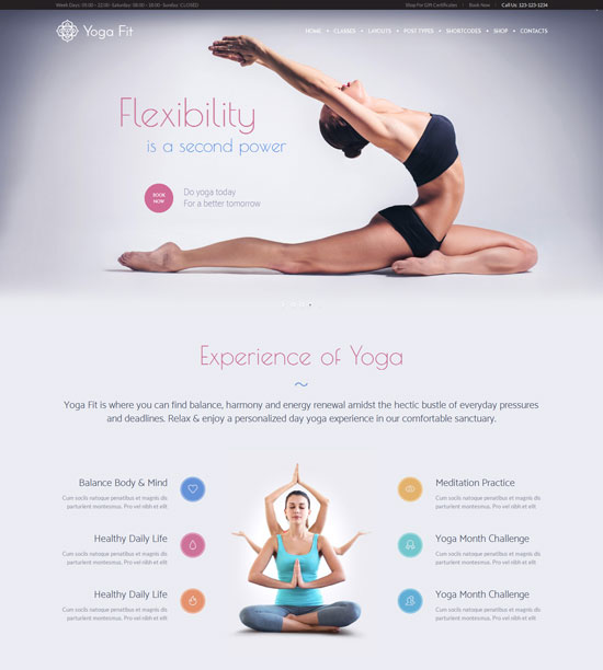 Yoga Fit - Sports, fitness WordPress theme