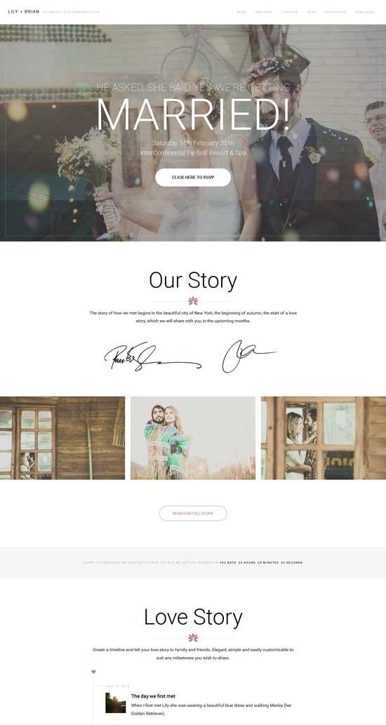 Lily responsive WordPress wedding theme
