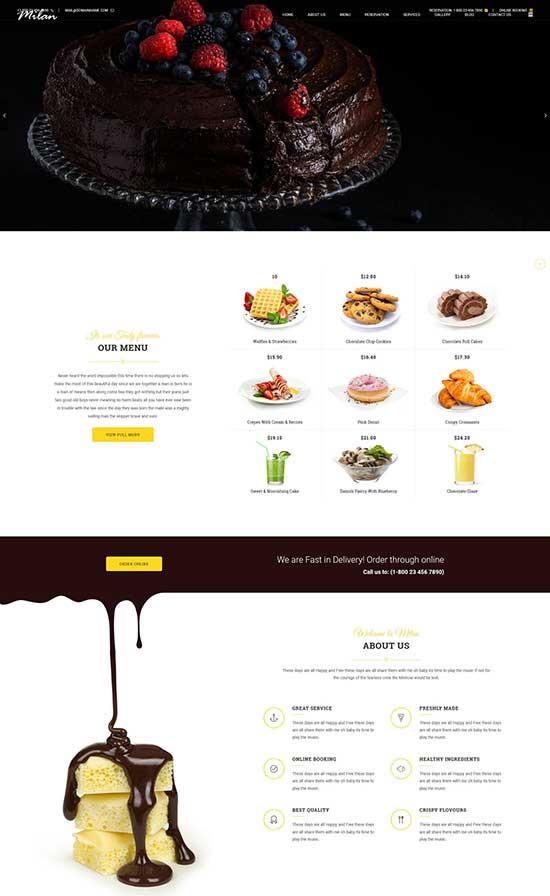 Milan : Bakery / Coffee / Vegan / Restaurant WordPress theme