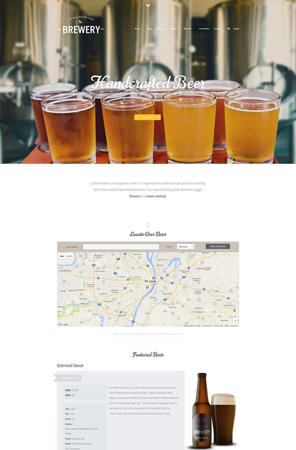 Brewery: A WordPress Theme for Beer Makers