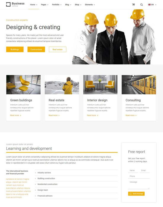 yellow business construction theme