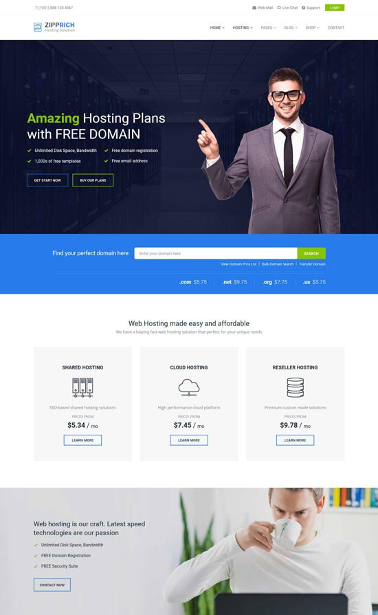 zipprich web hosting wordpress theme