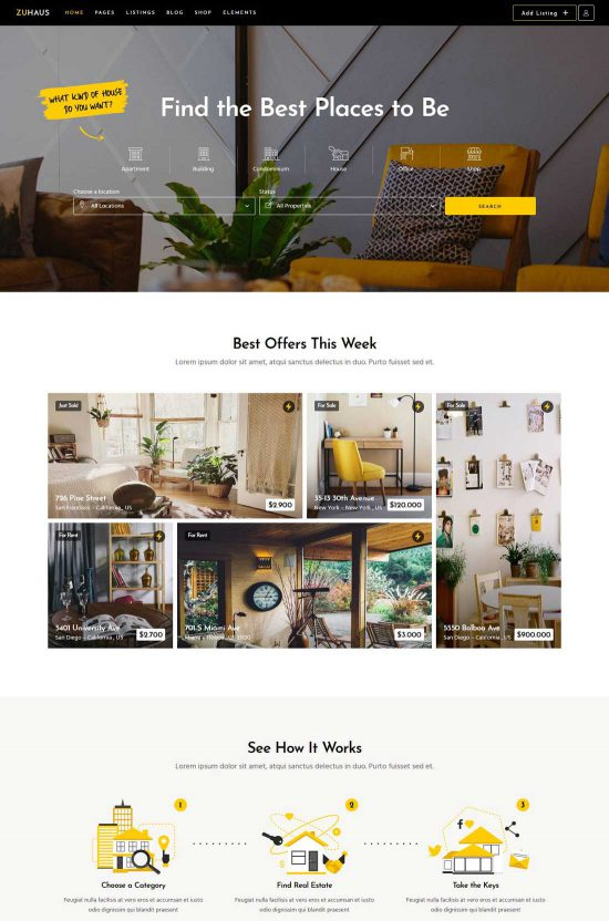 zuhaus real estate and rental theme